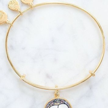 ALEX AND ANI Rosemale Gold Charm Bangle