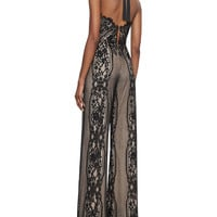 Amadora Halter-Neck Lace Jumpsuit, Black