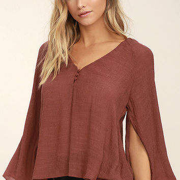 Catch the Light Rust Red Long Sleeve Top