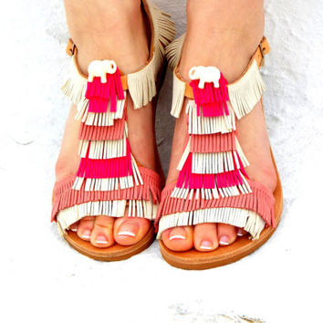 "Pink &White Leather Sandals, Greek Sandals, white elephant shoes, barefoot sandals, ""Amelie"""