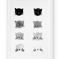 Greyscale Kitties Print