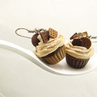 Chocolate Cupcake Earrings - Mini Food Jewelry - Dollhouse Food Miniature