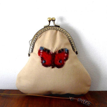 Peacock butterfly purse, merino felt, cream, red, blue, polycotton, liberty, felt purse, floral, lined, wallet, gift, handmade bronze clasp