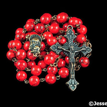 Catholic Rosary Beads Red Magnesite Rustic Natural Stone Copper Traditional Five Decade Rosary Catholic Gift