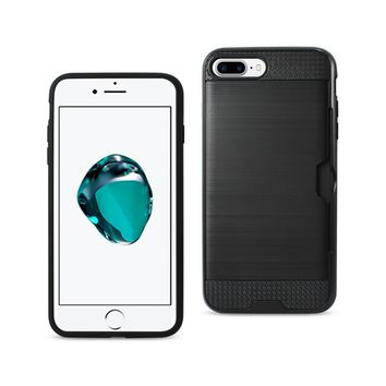 New Slim Armor Hybrid Case With Card Holder In Black For iPhone 7 Plus
