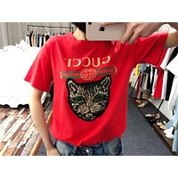 GUCCI Stylish Women Loose Sequin Cat Embroidery Short Sleeve Pullover Top T-Shirt Blouse Red