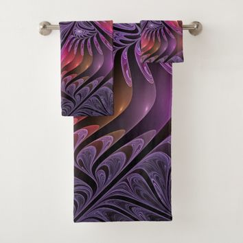 Colorful Fantasy Abstract Modern Purple Fractal Bath Towel Set
