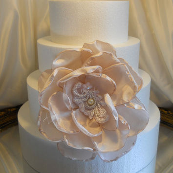 "Large Blush Silk and Lace Cake Topper Peony Flower, measures 7"" round. Makes a beautiful cake topper, or use in bouquets, add to a wreath,"
