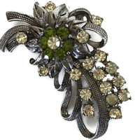 Vintage Rhinestone Brooch Pin with Silver Tone Ribbons and Crystal and Green Rhinestones Costume Jewelry Pin