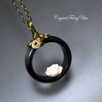 Ring Necklace - Genuine Black Onyx Necklace -  Coral Rose Flower Necklace - Retro Bronze Stone Necklace Root Chakra Healing