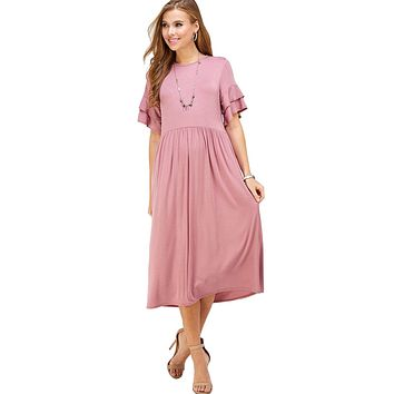 Shirred Midi Dress with Ruffled Sleeve