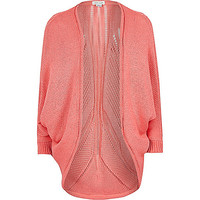 River Island Girls coral knitted draped cardigan