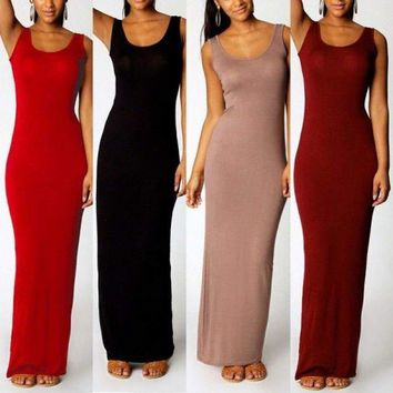 Women's Sleeveless Bandage Dress Bodycon Cocktail Party Long Maxi Dress Clubwear