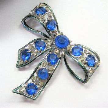 Blue Bow Brooch, Art Deco Pot Metal, Blue  Rhinestone Bow Pin