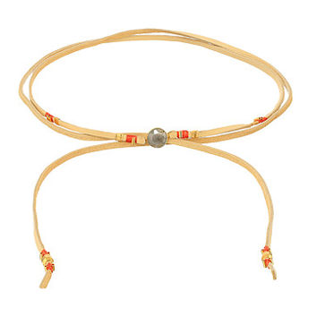 "Chan Luu 42"" Adjustable Semi-Precious Stone and Raw Cut Leather Choker Labradorite 3 - Zappos.com Free Shipping BOTH Ways"