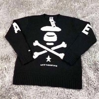 Bape Aape New fashion letter pattern print long sleeve high quality top sweater Black