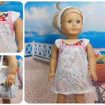 "18"" American Girl Dolls 2 PC Swimsuit Coverup, White Lace Dress Beachwear Optional Carry All Beach Bag"