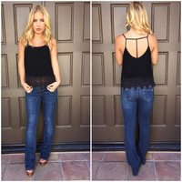 Victory Crochet Trim Tank - BLACK
