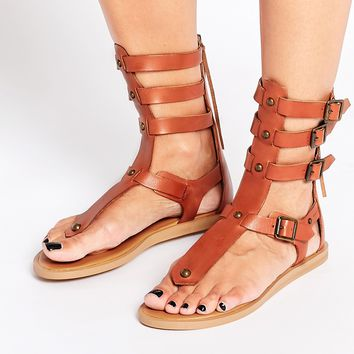ALDO Livy Tan Leather Gladiator Flat Sandals