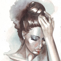 Original watercolor portrait of woman with hair bun art and painting