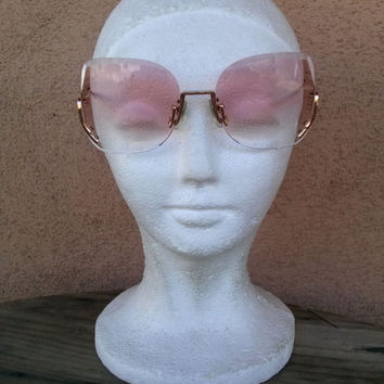 Vintage 1980s Sunglasses Rose Colored Amber Tinted 80s Glasses Martin Wells Princess 201668