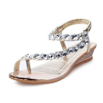 Summer shoes Summer Sandals Bling Rhinestone Flats Women Platform Wedges Sandals Fashi