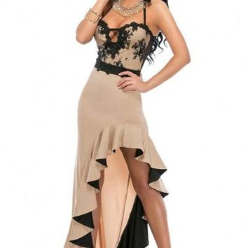 Gradient Ruffled Hem Evening Dress
