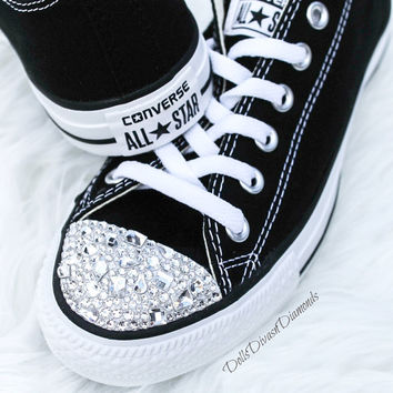 Customized Converse With SWAROVSKI Shapes CRYSTALS - BLACK ac0b19bfe