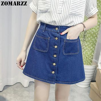 Summer Girls A-Line Mini Jeans Skirts Women Pencil Pockets Midi Denim Skirt High Waist Tutu Front Button Sweet Style Harajuku