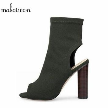 2017 New Fashion Stretch Fabric Women's Shoes Thigh High Heels Boots Peep Toe Over The Knee Long Boots Black Chunky Casual Shoes