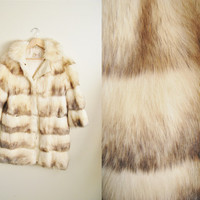 The Foxy - Vintage 60s White Silver Fox Real Fur Coat Winter Jacket