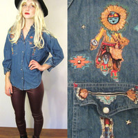 Denim Native American Indian Tribal Embellished Beaded Studded Women's Blouse Size S
