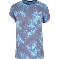 River Island MensGrey Friend or Faux tie dye t-shirt