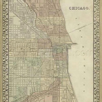 Plan Of Chicago Giclee Print Poster by Mitchell