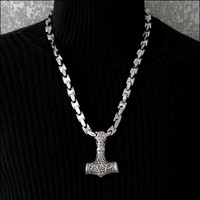 Extra Large Stainless Steel Thor's Hammer Pendant with Thick Knucklebone Stainless Steel Chain
