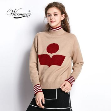 Women preppy chic turtleneck sweater winter long sleeve pullovers book pattern patchwork warm knitted top