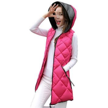 PEAPUNT 2016 newest winter vest women slim long fashion down cotton vest with fleece hood spliced thicken wadded vest plus size kl0636