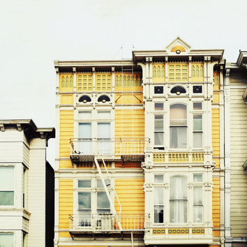 "San Francisco Photograph / yellow goldenrod mustard yellow / urban victorian house / windows / architecture print / white  ""Saffron House"""