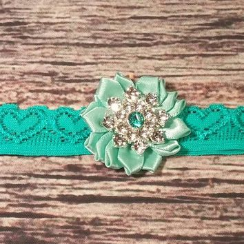 Teal Satin Flower with Beautiful Aqua Rhinestone on Teal Heart Lace Baby Girl Headband!