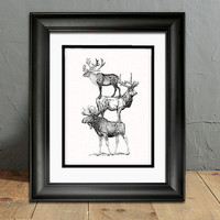 Moose - Elk - Caribou -  Deer family - art print - Deer Hunter - animal art - rustic cabin - woodland -  forest wildlife -  Hunter - for him