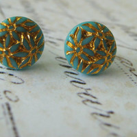 Vintage Aqua and Gold Etched Flower and Sterling Silver Post Stud Earrings, Aqua and Gold Earrings, Sterling Post Earrings