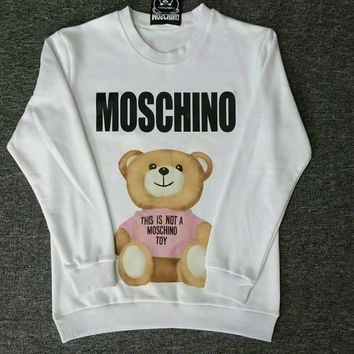 Moschino bear print long sleeve white sweater top H-spring-CLFSGCJDZ