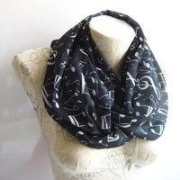 Music Notes Printed İnfinity Scarf ,Black Chiffon Scarf