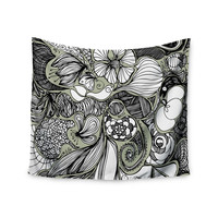 "Anchobee ""Doodle Dos"" Gray Green Wall Tapestry"