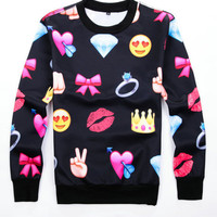 Black Bowknot Emoji Print Long Sleeve Sweatshirt
