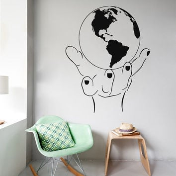 World Map Wall Decals Stickers Globe in a Hand Pattern Home Interior Design Art Mural Vinyl Decal Sticker Kids Nursery Baby Room Decor kk801