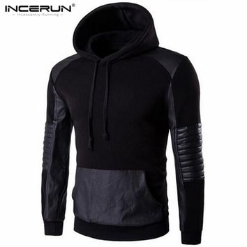 2017 Autumn Spring Hooded Sweatshirt Men Hoodie Pullover Casual Hip hop Leather Patchwork Sportswear Men Cotton Hoody Jackets