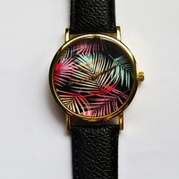 Ombre Tropical Palm Tree Leaves Watch, Vintage Style Leather Watch, Women Watches,Mens Watch, Boyfriend Watch, Unisex