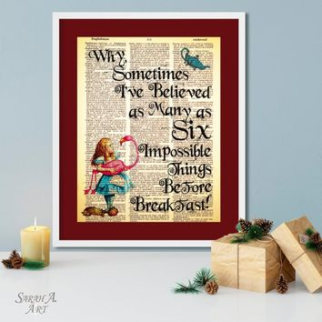 Alice in Wonderland, Six Impossible Things Before Breakfast, quote art, Dictionary Art, Book, Vintage Page, Unique Gift, Decor