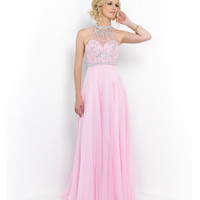 Crystal Pink Sheer Illusion Beaded Halter Chiffon Gown
